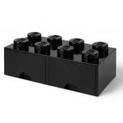 40061733 Cutie depozitare LEGO 2x4 cu sertare, negru