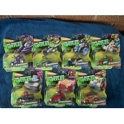 (7) Teenage Mutant Ninja Turtle T-Machines/Ralph in Shellraiser/Splinter in Rat Attack/Fishface in Shell Crusher/Mikey in Hot Rod/Leo in AT-3/Leo in Stealth Bike/Shredder in Shedermobile