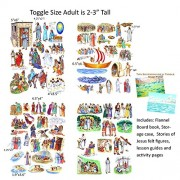 Toggle Size Story & Life Of Jesus 13 Bible Stories Set Felt Figures & Flannel Board Book Precut +Lesson Guide Activity Pages
