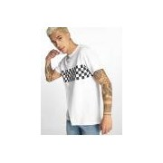 Urban Classics / t-shirt Check Panel in wit - Heren - Wit - Grootte: Small