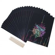 Bememo 20 Sheets Rainbow Scratch Art Paper Magic Painting Papers Scratch Boards with 10 Pieces Wooden Stylus Sticks, 19 cm x 26 cm, Black
