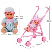 Rucan My First Doll Stroller&Baby Toy Precious Toys Foldable with Hood Gift for Girls