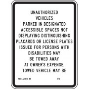 Accuform Signs FRA189RA Engineer-Grade Reflective Aluminum Handicapped Parking Sign (California), Legend UNAUTHORIZED VEHICLES PARKED IN DESIGNATED ACCESSIBLE SPACES NOT DISPLAYING DISTINGUISHING PLACARDS OR LICENSE PLATES ISSUED FOR PERSONS WITH DISABILI