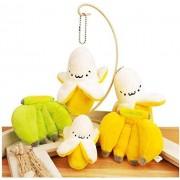 N/D Cute Cartoon Fruit Plush Toy Llavero Mochila Llavero Creative Banana String Smiley Plush Keychain Girl Gift 5 PCS