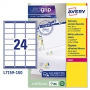 > Etichetta adesiva L7159 bianca 100fg A4 63,5x33,9mm (24et/fg) Avery (unit