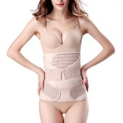 ChongErfei 3 in 1 Postpartum Support - Recovery Belly/Waist/Pelvis Belt Shapewear Slimming Girdle, Beige, One Size