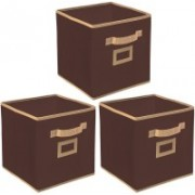 Billion Designer Non Woven 3 Pieces Small Foldable Storage Organiser Cubes/Boxes (Coffee) - CTKTC35139 CTLTC035139(Coffee)