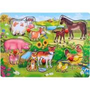 Puzzle din lemn cu animale domestice 5 piese