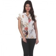 Gabby Women's Multicolor Floral Shirt Collar Cotton Blend Half Sleeves Regular Shirts