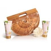 Lady Cotton Set de cosmetice pentru corp iasomie, în coș de bambus (White Jasmine Bath Set in bamboo basket)