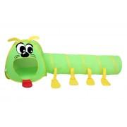Cort de Joaca pentru Copii cu Tunel tip Miriapod, Culoare Verde/Galben