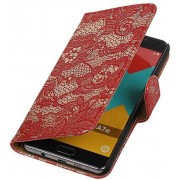 Samsung Galaxy A7 2015 A700F Hoesje Bloem Bookstyle Rood