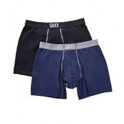 SAXX Men's Underwear-24-Seven Boxer Fly 2 Pack-Black/Navy-L