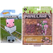 Minecraft Hot Wheels & Action Figure Survival Pack Zombie Pigman + exclusive pig character card MineCart Accessories Game Character Figure Toy Collectible Bundle