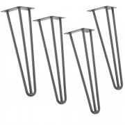 [en.casa]® Hairpin leg hajtűláb 61 cm stílusos asztalláb 4 darabos szett ezüst háromágú