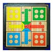 Samaira Sunshine Ludo, Snake Ladder, Tambola, Business Wooden Board Game 2 In 1 Game (Ludo & Snake Ladder)