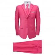 vidaXL Мъжки костюм с вратовръзка, розов, 2 части, размер 56