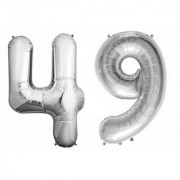 De-Ultimate Solid Silver Color 2 Digit Number (49) 3d Foil Balloon for Birthday Celebration Anniversary Parties