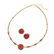 パッションコーラル バラ彫りネックレス&イヤリング/ピアスセット【QVC】40代・50代レディースファッション