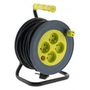 HBF prodlužovací kabel na bubnu 15m, 4 zásuvky, limonkový