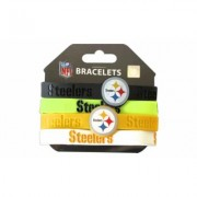 Aminco Sports Team Logo Set of 4 NFL Silicone Rubber Wrist Band Bracelet Pittsburgh Steelers