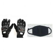 Combo Pro-biker Gloves (Black) + Anti Pollution Face Mask