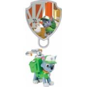 Set de joaca figurina mecanica Rocky si insigna 3D Patrula Catelusilor
