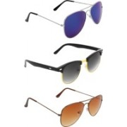 Zyaden Aviator, Clubmaster, Aviator Sunglasses(Blue, Black, Brown)