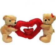 Dealbindaas Standing Teddy Bear Couple Carrying Heart Brown Soft Toy (Brown)