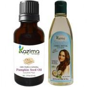 KAZIMA Combo of Pumpkin Seed Oil 15ML and Jasmine Herbal Hair Oil 100ML Anti Hair Loss Treatment Maintains Healthy Scalp & Dandruff