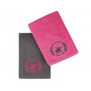 Set Prosoape De Maini Beverly Hills Polo Club Fucsia Grey, 100% bumbac, 2 bucati, roz, gri inchis, 50x90 cm