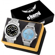 Skemi Analog Round Dial Men-Woman Watch / Fashionable Couple Watch / Watches For Couple Combo-058