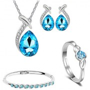 Om Jewells Rhodium Plated Crystal Jewellery Combo of Drop Pendant Set with Kada and Finger Ring for Girls CO1000209
