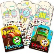 Cars and Trucks Coloring Book Set for Toddlers -- 2 Books and Over 200 Stickers (Tractors, Fire Trucks, Trains and Other Things That Go)