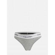 Calvin Klein šedé kalhotky s bílou širokou gumou Bikini - S