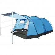 vidaXL Тунелна палатка за къмпинг, 4-местна, синя