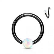 Helix piercing hoop ring zwart met opal steentje 10 mm