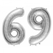 De-Ultimate Solid Silver Color 2 Digit Number (69) 3d Foil Balloon for Birthday Celebration Anniversary Parties