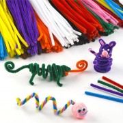 Baker Ross Craft Pipe Cleaners - 120 Stems Fluffy Wire in 10 Assorted Colours. Size: 30cm x 0.6cm.
