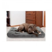FurHaven Minky Plush Luxe Lounger Cooling Gel Dog Bed w/Removable Cover, Gray, Large
