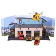 Pista De Masini Dickie Toys Fireman Sam, Sam Fire Rescue Team Cu 3 Masinute, 1 Elicopter Si 1 Figurina