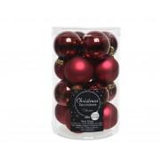 Tuinland Kerstballen Donkerrood Glas 2,5cm Koker 16st.