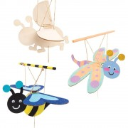 Baker Ross Bug Wooden Puppet Kits - 3 Wooden Puppets On String. Wooden Insect Marionettes. Size 17cm.