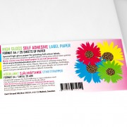 Självhäftande högblankt A4 etikettpapper, 25 ark