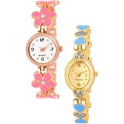 Varni Retail Pink Flower Belt And Gold Oval Dial Chai 2 Cmb Watch Girls
