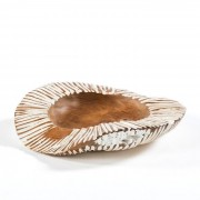 Decoratiune, Vas decorativ din lemn Bowl 40, natur/ alb 20601/00 TN
