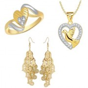 VK Jewels Gold and Rhodium Plated Alloy Earrings & Ring & Pendant Combo Set for Women & Girls made with Cubic Zirconia - COMBO1495G [VKCOMBO1495G8]