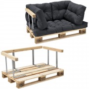 [en.casa]® Paletový nábytok - kompletná sada - tmavo sivá - model C