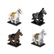 Set of 4 Building Block Horses with Saddles - Custom Animal Figures Horse Puzzle Animal (4 Building Block Horses)