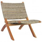 vidaXL Cadeira relaxante vime Kubu natural/madeira mogno maciça
